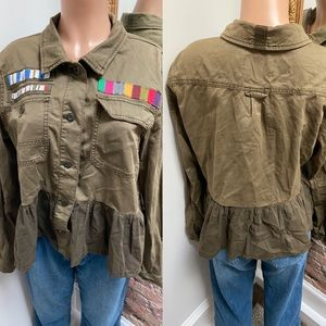 ANTHRO| girly army green jacket| L